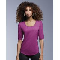 Womens Tri-Blend Deep Scoop 3/4 Sleeve Tee