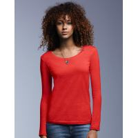 Ladies Sheer Langarm Scoop Tee