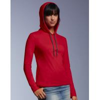 Womens Fashion Basic Langarm Hooded Tee