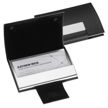Schwarz Kunstleder Aluminium Visitenkartenbox