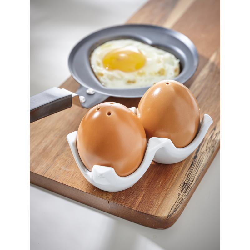 salz und pfefferstreuer funny eggs wei braun bei. Black Bedroom Furniture Sets. Home Design Ideas