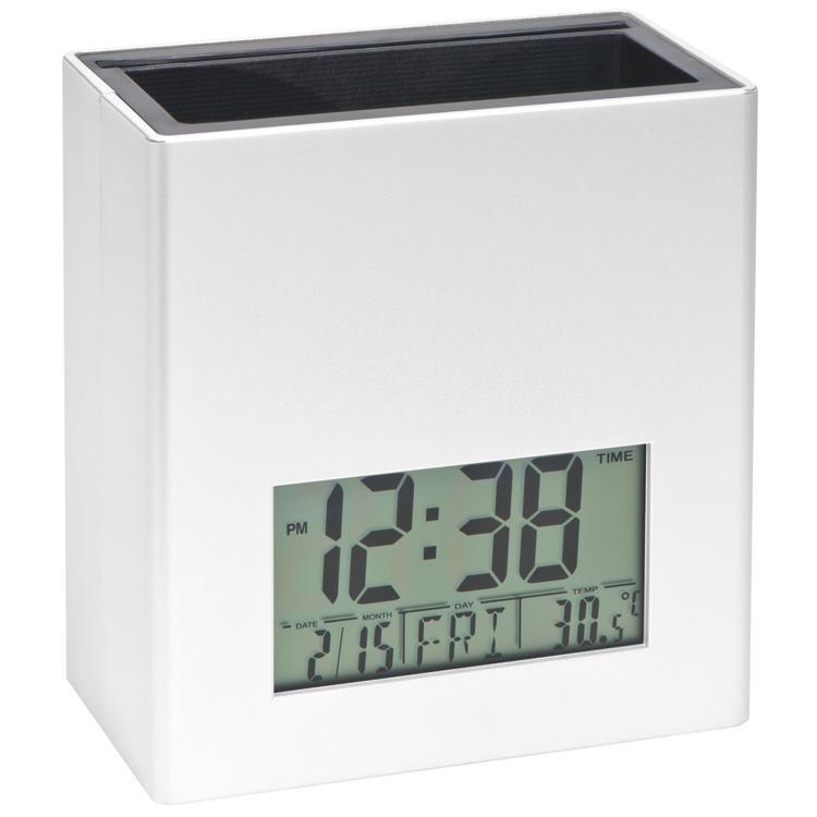 stiftehalter mit digitaler uhr und temperaturanzeige weiss bei werbeartikel. Black Bedroom Furniture Sets. Home Design Ideas
