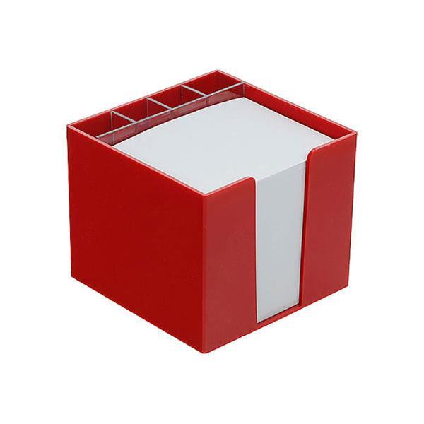 zettelbox mit papier mit k cher rot bei werbeartikel. Black Bedroom Furniture Sets. Home Design Ideas