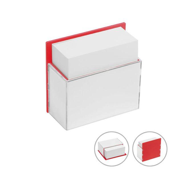 zettelbox mit papier rot glasklar bei werbeartikel. Black Bedroom Furniture Sets. Home Design Ideas