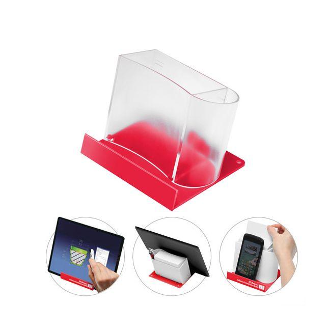 smartphone tabletst nder mit zettelspeicher ohne papier gefrostet glasklar rot bei. Black Bedroom Furniture Sets. Home Design Ideas